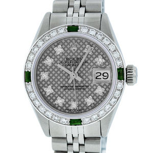 Rolex Ladies Datejust Grey Stamp Watch